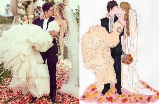 photo of wedding ceremony photo turned into a custom portrait