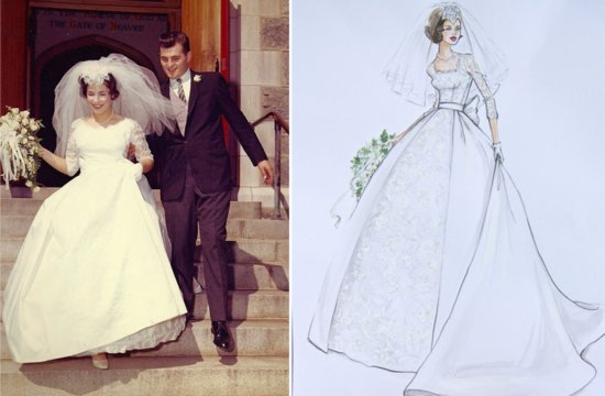 Custom wedding illustrations to always remember the dress