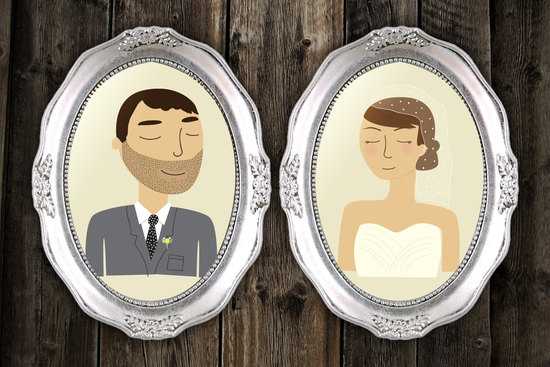 framed custom bride and groom portrait illustrations