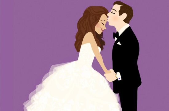 Sweet bride and groom illustration during first dance