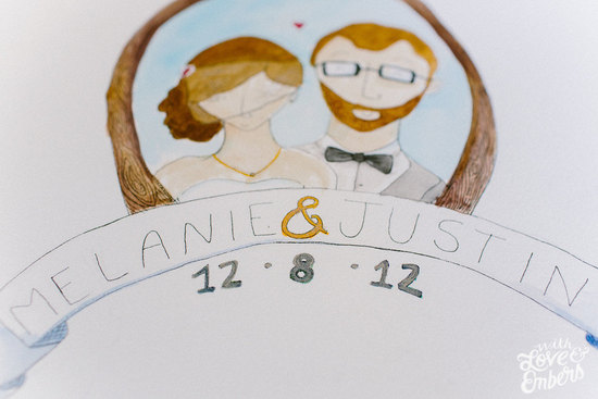 watercolor wedding portrait of the bride and groom