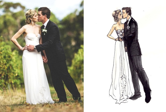 custom bride and groom wedding fashion illustration
