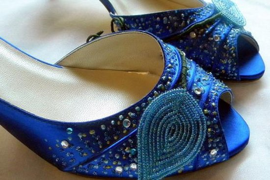 Embellished blue wedding shoes