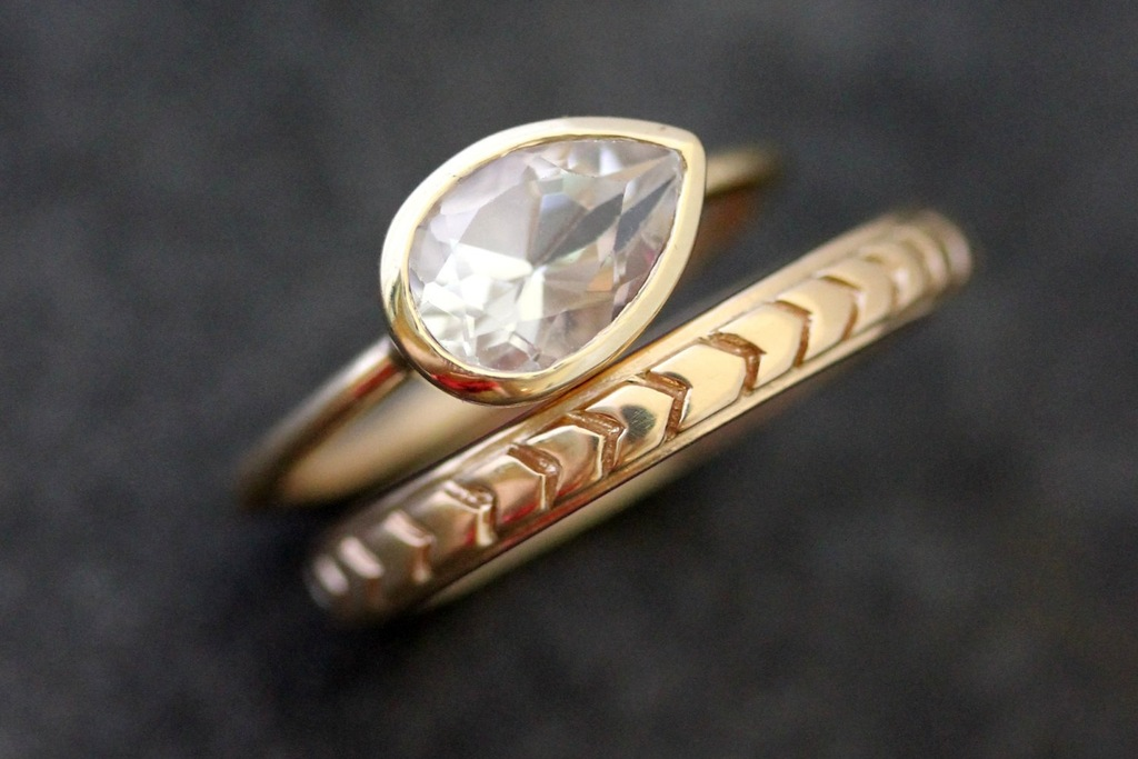 recycled gold chevron wedding band and alternative engagement ring