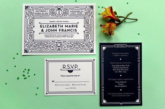 Eco Friendly Art Deco Inspired Wedding Invitations