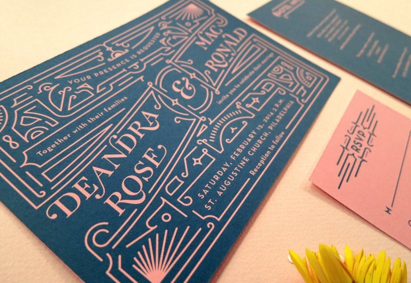 Navy And Coral Art Deco Inspired Wedding Invitations