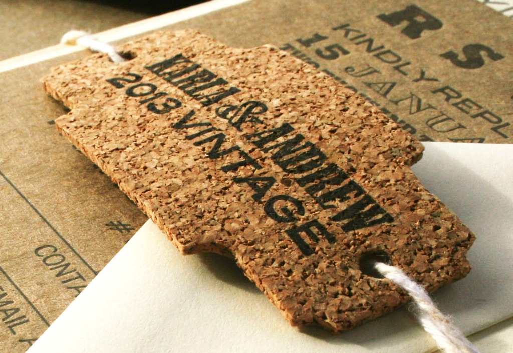 recycled cork wedding invitation or favor tags