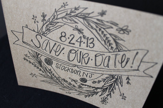 Hand Drawn Recycled Wedding Save The Date