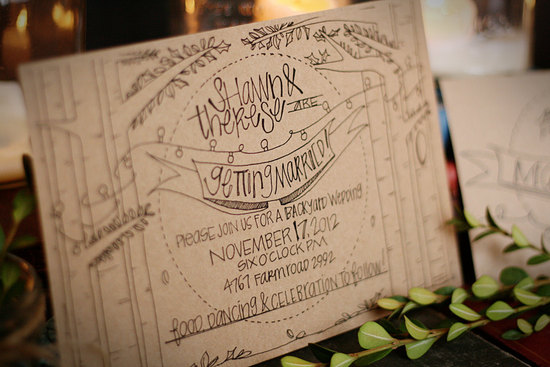 recycled kraft paper wedding invitation with black font