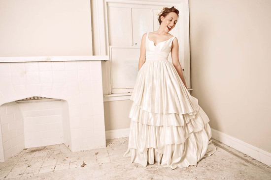 Eco Hemp Wedding Gown With Notched V Neckline