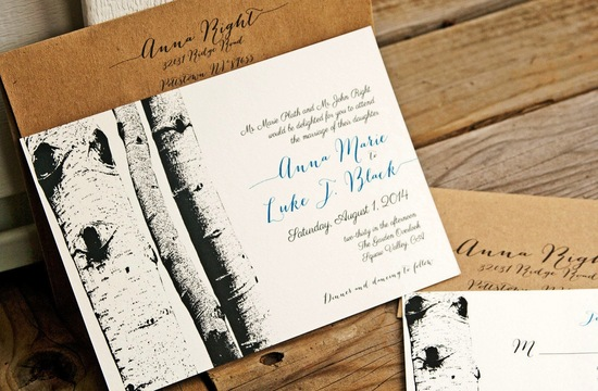recycled aspen themed wedding invitations