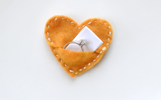 gold felt heart wedding ring holder