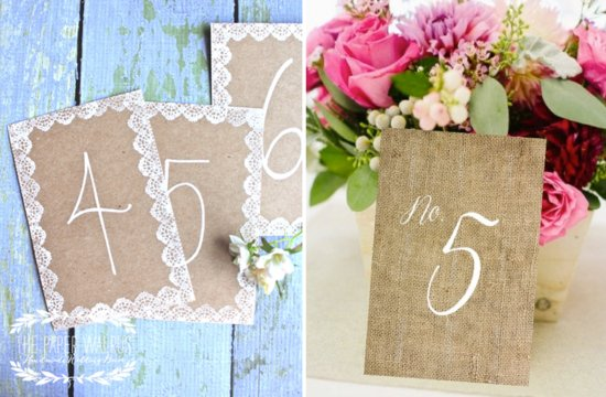 Rustic kraft paper and burlap wedding table numbers