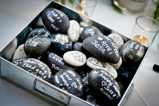 Eco Friendly Wedding Guest Book Alternative Signed Stones