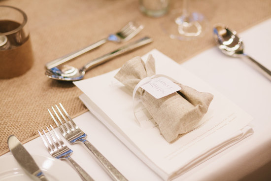 eco burlap wedding favor bags tied with ribbon