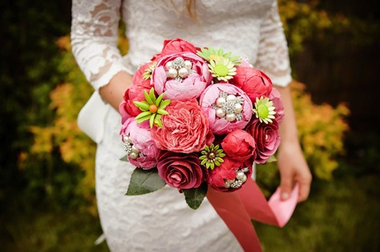 pink peony eco wedding bouquet with green brooch accents