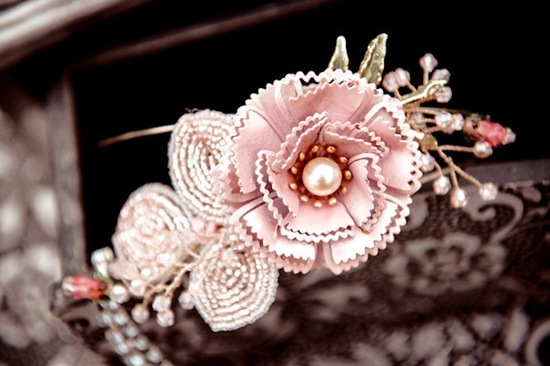 Vintage Floral Wedding Headband In Blush And Bronze