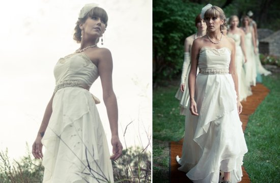 Recycled sweetheart neckline wedding dress with romantic applique