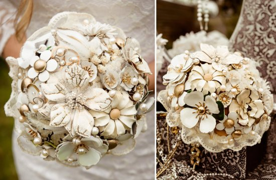 Gold and Ivory Brooch Wedding Bouquet