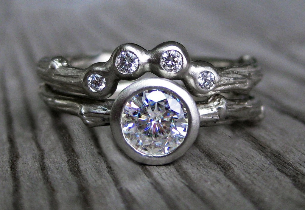 recycled white gold engagement ring shadow band set