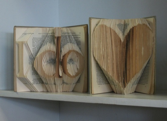 I Do heart vintage book art for the wedding reception