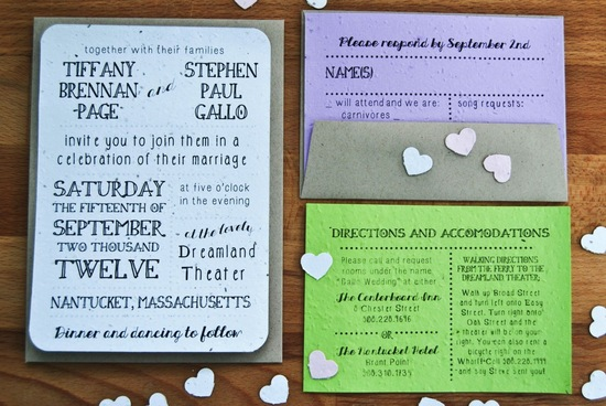 plantable pastel wedding invitations