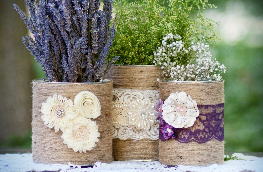 burlap and lace covered jars for wedding centerpieces