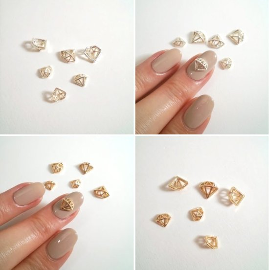 gold diamond nail charms for brides
