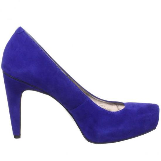 Blue suede wedding shoes by Calvin Klein