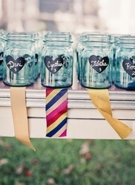 photo of chalkboard chic mason jars for wedding favors