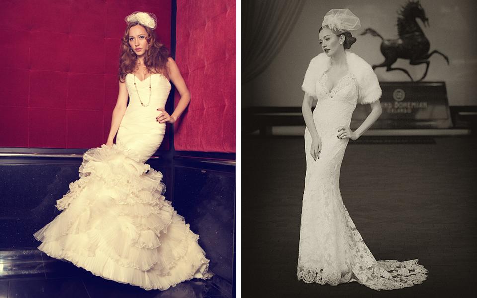 Old hollywood brides in mermaid wedding dresses for Old hollywood wedding dress