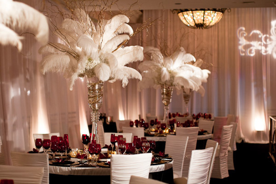 White feather wedding topiary centerpieces for old