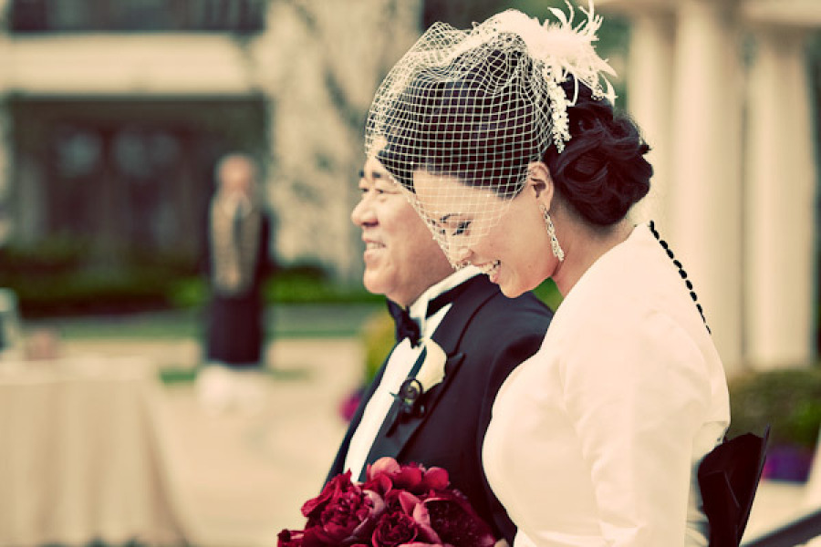 Vintage-glam-bride-wears-birdcage-veil-and-dress-with-covered-buttons.full