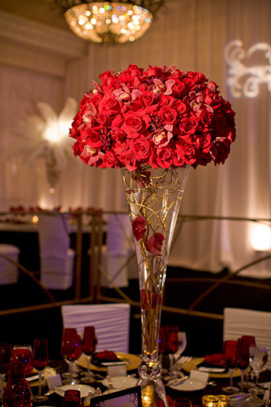 Red rose wedding topiary centerpiece for vintage glam