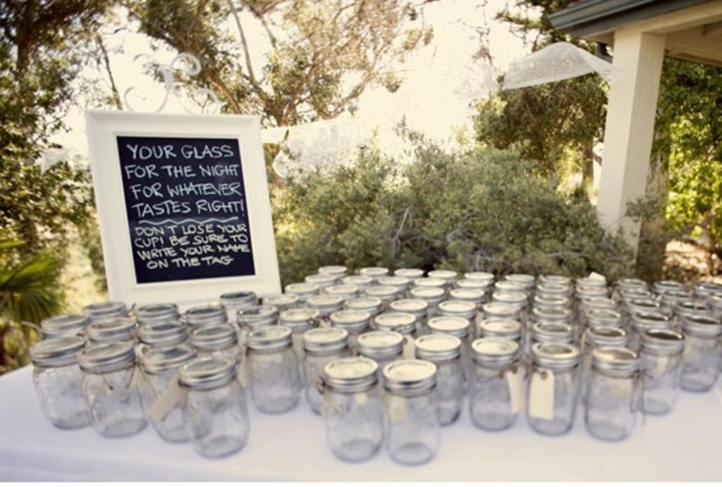 Rustic Outdoor Wedding Decor Using Mason Jars