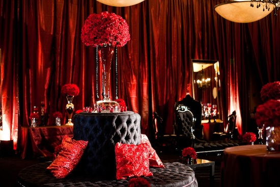 black and red wedding lounge reception venue