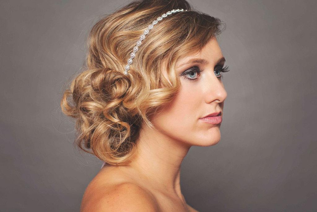 Retro Waves Loose Wedding Updo With Crystal Headband