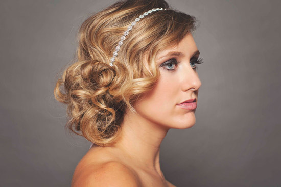 retro waves loose wedding updo with crystal headband