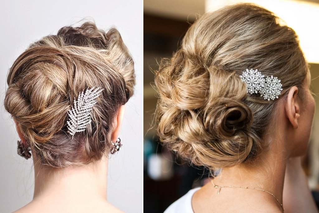 Messy Side Braided Wedding Updo With Romantic Accessory And Bouquet