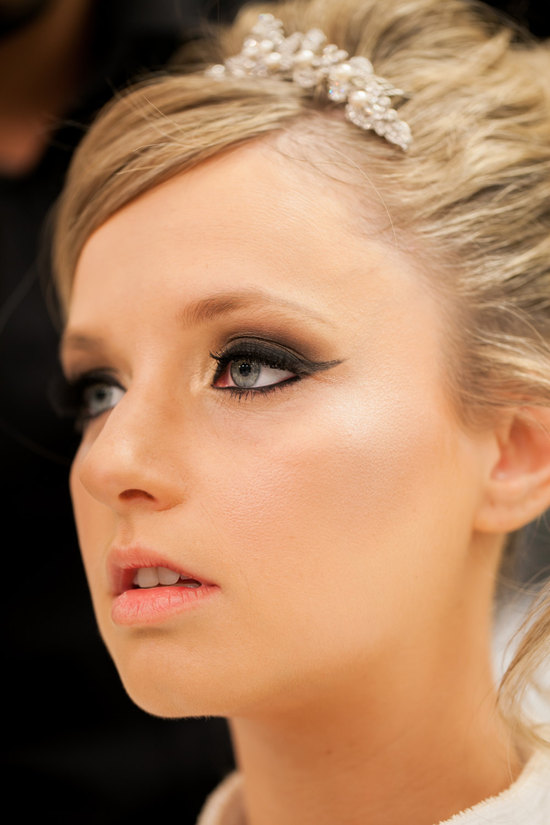 Beautiful bridal makeup with smoky winged eyes
