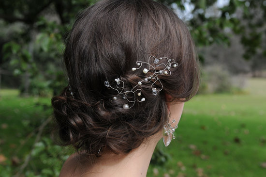 low braided wedding updo with wire and pearl hair accessory