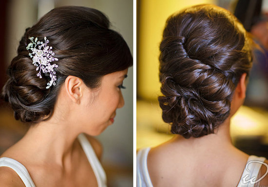Swirling wedding updo for classic romantic brides