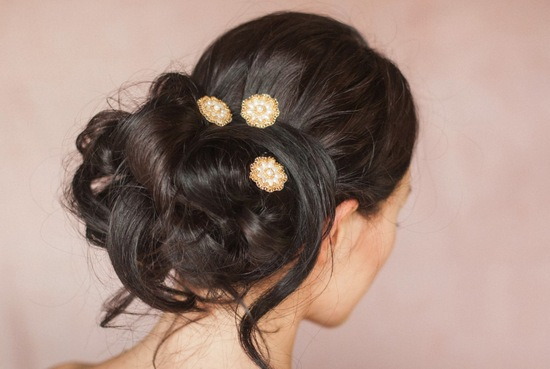 Messy low wedding updo for brides with long hair
