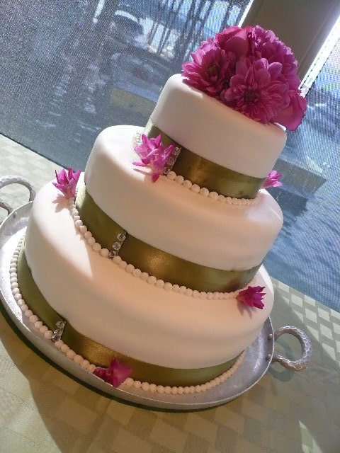 Layered Wedding Cake with flower toppers