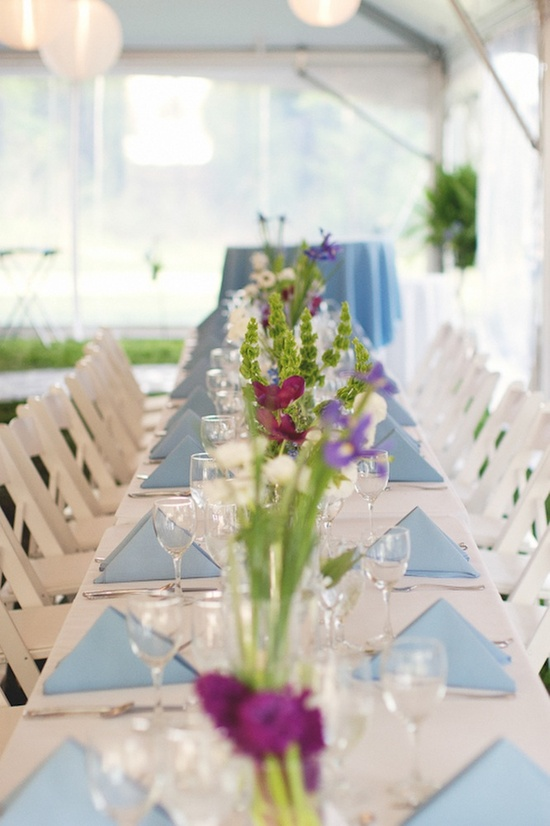 Outdoor North carolina wedding reception with simple flower centerpieces