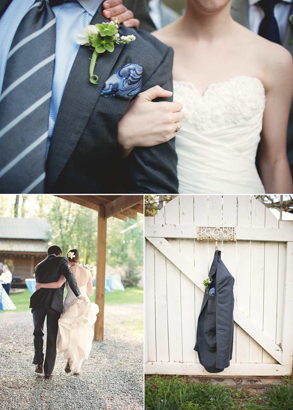 Ivory-wedding-dress-casual-grooms-attire-striped-necktie-outdoor-rustic-wedding.full