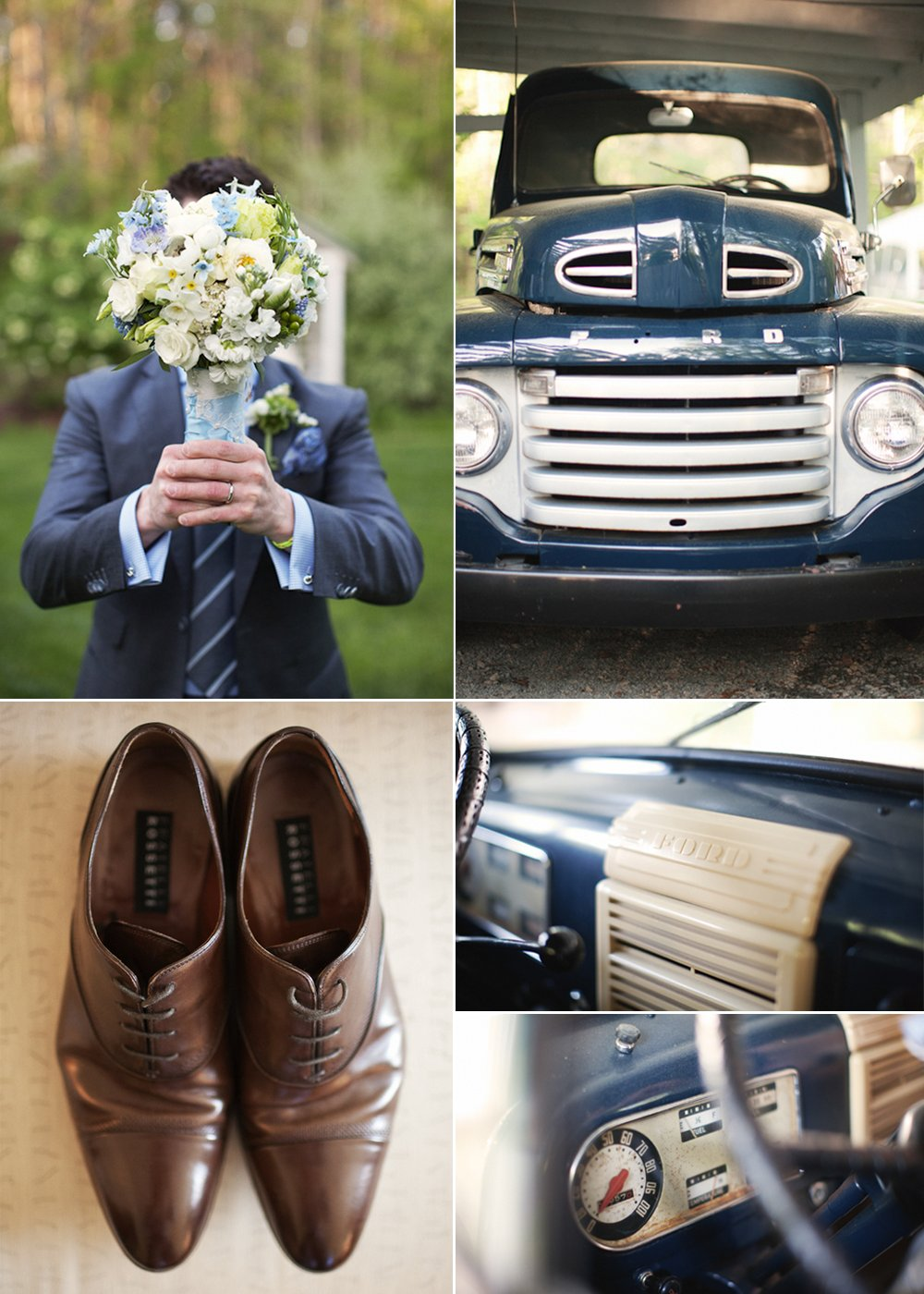 Outdoor-real-wedding-grooms-attire-brides-bouquet-vintage-wedding-car.full