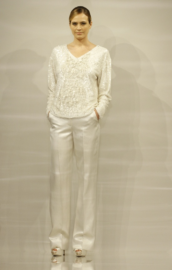 White Bridal Collection chic pants suit