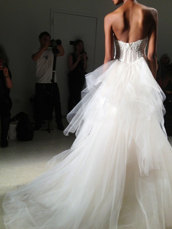 Kenneth Pool frothy ballgown wedding dress with lace corset