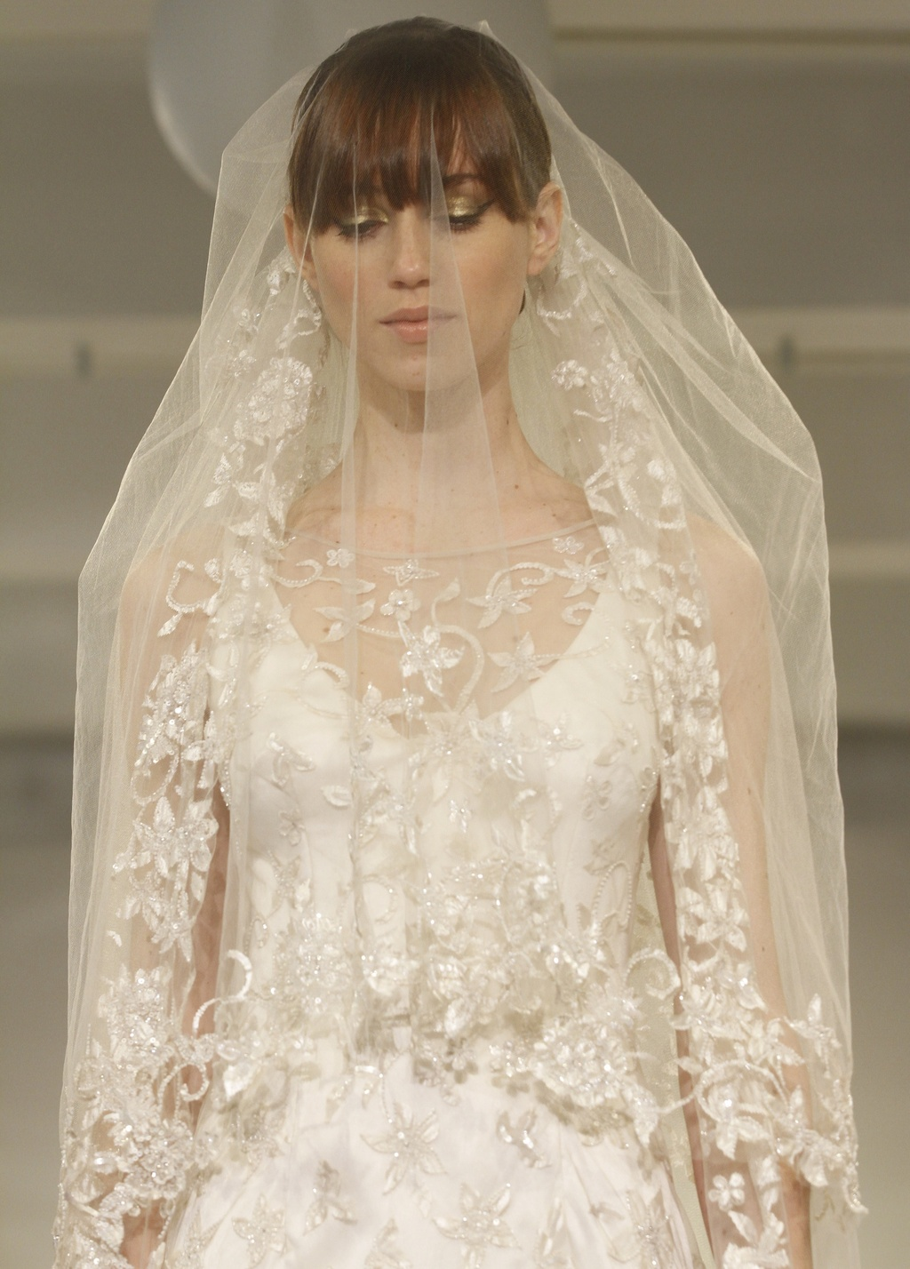 Theia couture cora wedding dress with statement veil for Wedding dress with veil